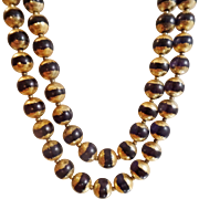 Vintage Two Strand Black and Gilt Necklace. Japan. Gold Plated Black Bead Necklace.