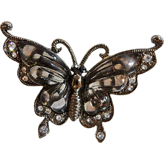 Vintage Smoky Lucite Rhinestone Butterfly Brooch. Black and Clear Rhinestone Butterfly Pin. Smoky Gray Lucite Butterfly Brooch.