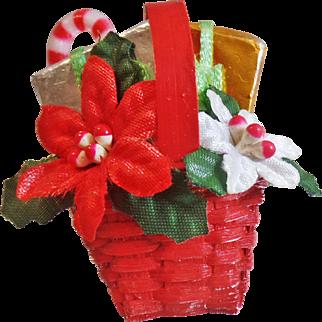 Vintage Poinsettia Basket Brooch. Satin Poinsettias, Foil Wrapped Gifts, Wicker Basket Pin. Christmas Flower Basket Brooch.