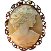 Vintage 800 Silver Filigree Hand Carved Shell Cameo Pin Pendant