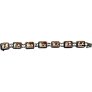 Vintage 800 Silver 14K Gold Carved Shell Cameo Bracelet Seven Days of Week
