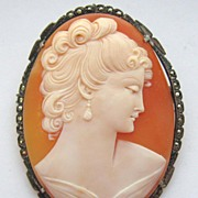 """LARGE 2 1/4"""" Vintage 1940s Carved Shell Cameo Marcasite Sterling Brooch Pendant Combo"""