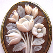 Vintage Sterling Silver Carved Sardonyx Shell Cameo Pin Pendant Bouquet