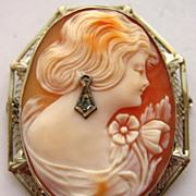 Art Deco 14K Gold Filigree Habille Diamond Shell Cameo Pin Pendant