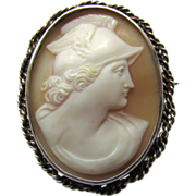 Vintage Silver Carved Shell Cameo Brooch Mercury