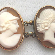 Vintage 800 Silver Carved Shell Cameo Bracelet Mythic God Goddess