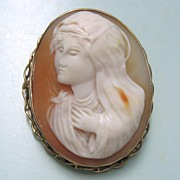 Antique 10K Yellow Gold High Relief Full Face Cameo Madonna Virgin Mary the Blessed Mother ...