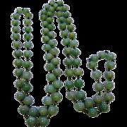 Vintage Art Deco Apple Green Jadeite Jade Beads Necklace