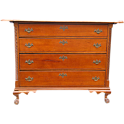 Important Cabinetmaker-Signed 18th Century Litchfield County CT Chippendale Cherrywood Sideboard Chest with Great Overhand & Porringer Corner Top