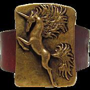 c1970 Carl Tasha Leaping Unicorn Brass Belt Buckle & Original Belt
