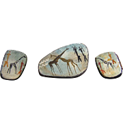 African Tribal Art Hand Painted Earrings and Brooch Giraffes