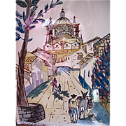 Mexican Mission Painting-Watercolor-Signed J. Toledo