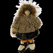 "SALE Antique Eskimo Inuit Native American Doll 9"" Leather Face & Body"
