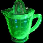 Vintage Green Depression Footed Uranium Glass Juicer Reamer & Measuring 4 Cup