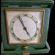 SALE Art Deco Elgin 8 Day Travel Clock Leather Case Works