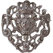 Vintage Cini Cast Sterling Silver Brooch Putti Cherub Mermaid