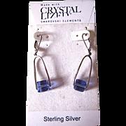 Swarovski Elements Crystal & Sterling Purple Dangling Earrings
