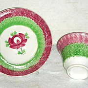 2 Color Rainbow Spatterware Handleless Cup & Saucer w/ King's Rose Decoration c 1820