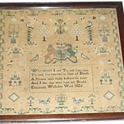 1826 English Needlework Sampler by Elizabeth Walkden