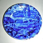 Dark Blue Historical Staffordshire Cup Plate ~ Stone Bridge by Enoch Wood w/ Border