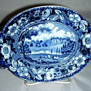 Blue Historical Staffordshire Gravy Tureen Undertray ~ Redgrave Hall, Stevenson's Wild Rose Border Series