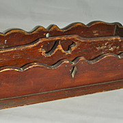 Wooden Knife or Cutlery Box Carrier w/ Heart Cut-Out Handle & Scalloped Edge Original 19th C S