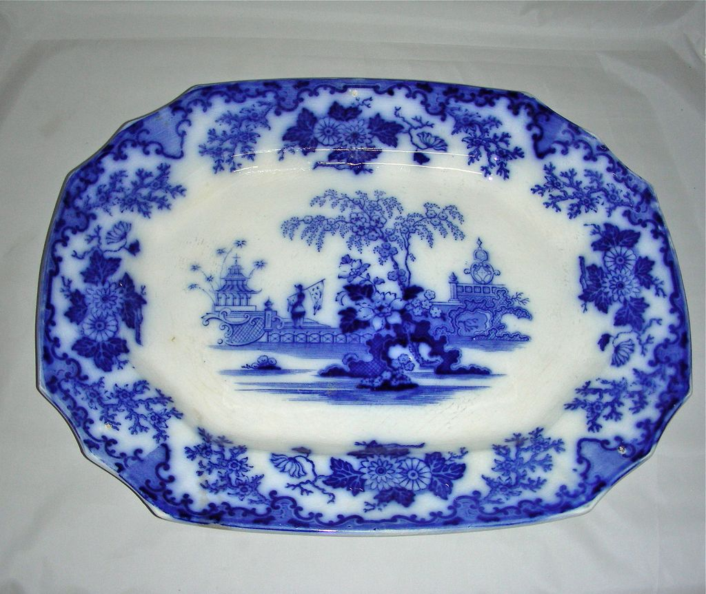 """16"""" Staffordshire Flow Blue Scinde Pattern Platter, c. 1840"""