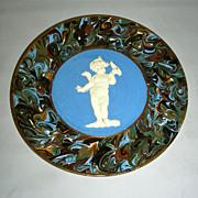 Slip Decorated Marbled Mocha Ware Mochaware Plate w/Sprig Cherub Figure by Thomas Fradley, c .