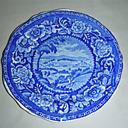 Rare Dark Blue American Historical Staffordshire Plate from Clews' Cities Series ~ Washingto