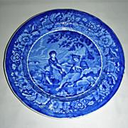 Dark Blue Staffordshire Plate ~ Pastoral Scene by Phillips, c. 1830