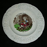 """Staffordshire Child's Plate: """"Now I'm Grandfather"""" w/ Polychrome Highlights, c. 1860"""