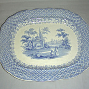 "SOLD 12"" Blue Staffordshire Platter: Zoological Series w/ Polar Bear, 1837"