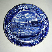 American Historical Staffordshire Cup Plate: Landing of Lafayette at Castle Garden, NY, c. 182