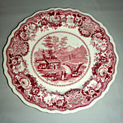 "Pink American Historical Staffordshire 9"" Plate: View Near Conway, N. Hampshire by Adams, c."