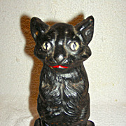 National Foundry Black Cat on Sitting Haunches Doorstop w/ Original Paint, c. 1920s