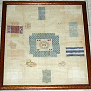 "Early Dutch Darning Sampler, Signed ""MV"" and Dated 1757"
