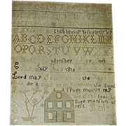 SOLD Rhody (Rhoda Louise) Follensbee's Needlework Sampler w/ House, 1816, Enfield, NH