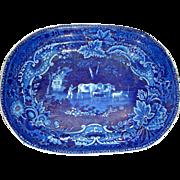 Dark Blue Staffordshire Platter by Adams: Man Herding Cattle and Sheep (Pastoral #2), c. 1825