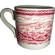 American Historical Staffordshire Child's Mug: San Francisco Harbor during the Gold Rush, c.