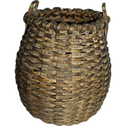 SOLD Small, Bulbous Shaped American Basket w/ 2 Handles & Push-up Bottom, Early 20th Century