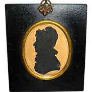 Cut and Pasted Silhouette of a Woman w/ Bonnet, Early 19th Century