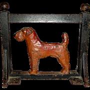 Unusual 19th Century Figural Cast Iron Boot Scraper w/ Dog