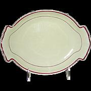 English Creamware Dessert Dish w/ Rare Purple Enameled Highlight, Marked Davenport, c. 1820