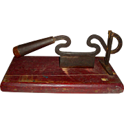 "Iron Food or Tobacco Chopper w/ Free-form ""S"" Curves, Mounted"
