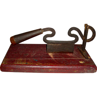 """Iron Food or Tobacco Chopper w/ Free-form """"S"""" Curves, Mounted"""
