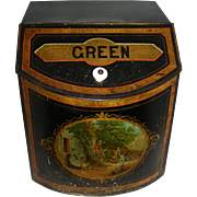 Large Tin Countertop Green Tea Bin w/ Lithograph Picture, c. 1900