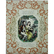 c. 1875 Victorian Colored Courting Lithograph or Valentine's w/ Cut Paper (Scherenschnitte)