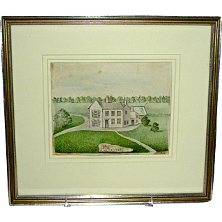 Folksy Watercolor Painting of a Country Manor House, c. 1930s