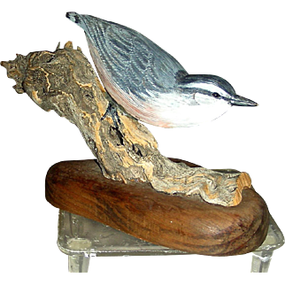 Carved & Painted Songbird Nuthatch by R. C. Mitchell '80 Kingston MA
