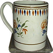 Small English Pearlware Mug w/Underglaze Pratt Decoration, c. 1820